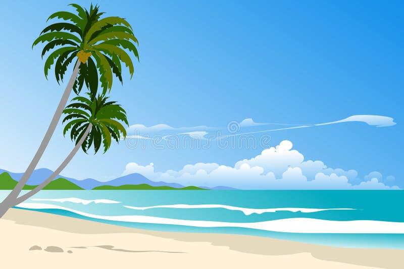 strand i blå himmel vektor illustrationer