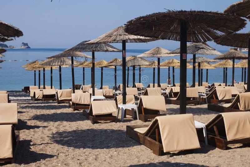 Strand i Budva, Montenegro arkivfoton
