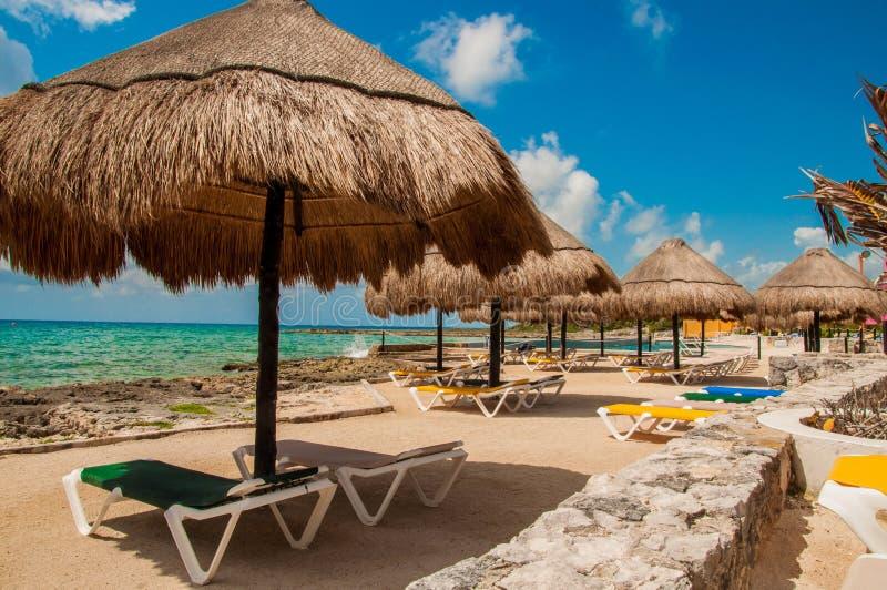 Strand i Costa Maya arkivbild