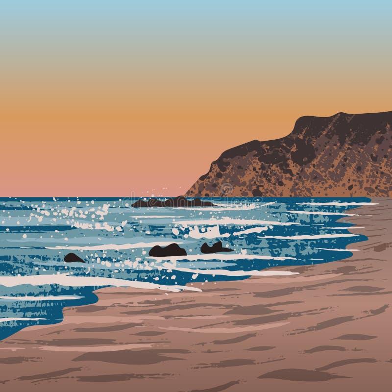 Strand i Crystal Cove stock illustrationer