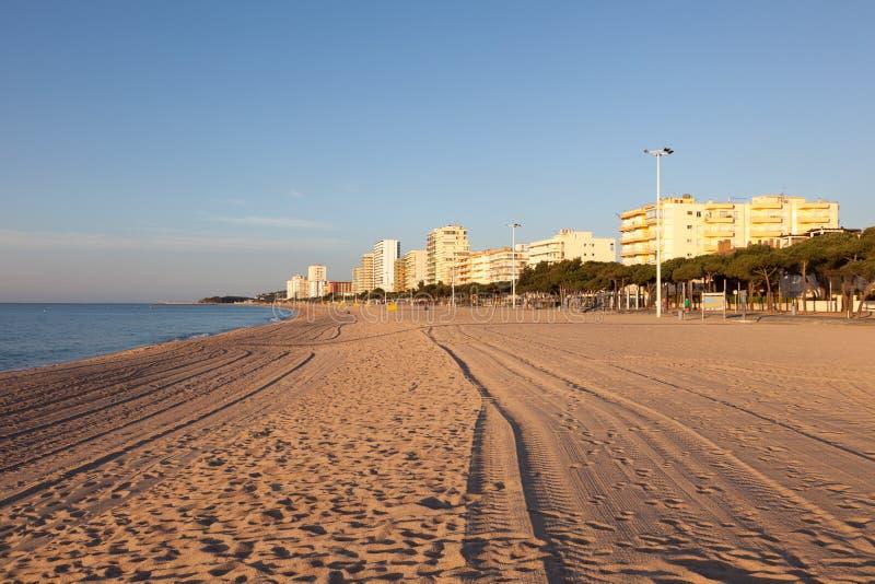 Strand i den Platja d'Aroen, Spanien arkivbilder