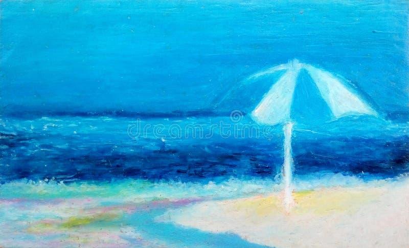 Strand i olje- pastell royaltyfri illustrationer