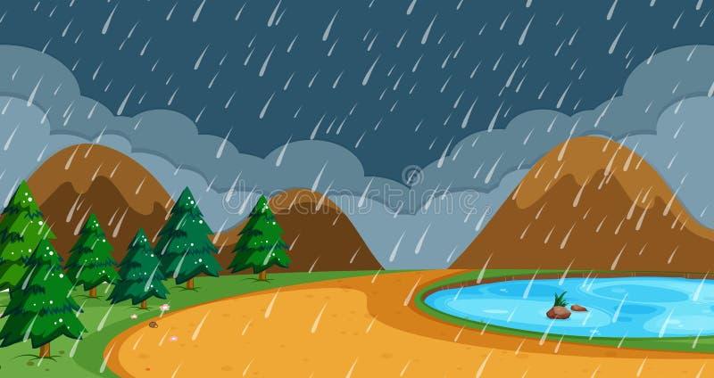 Strand i regnig säsong stock illustrationer