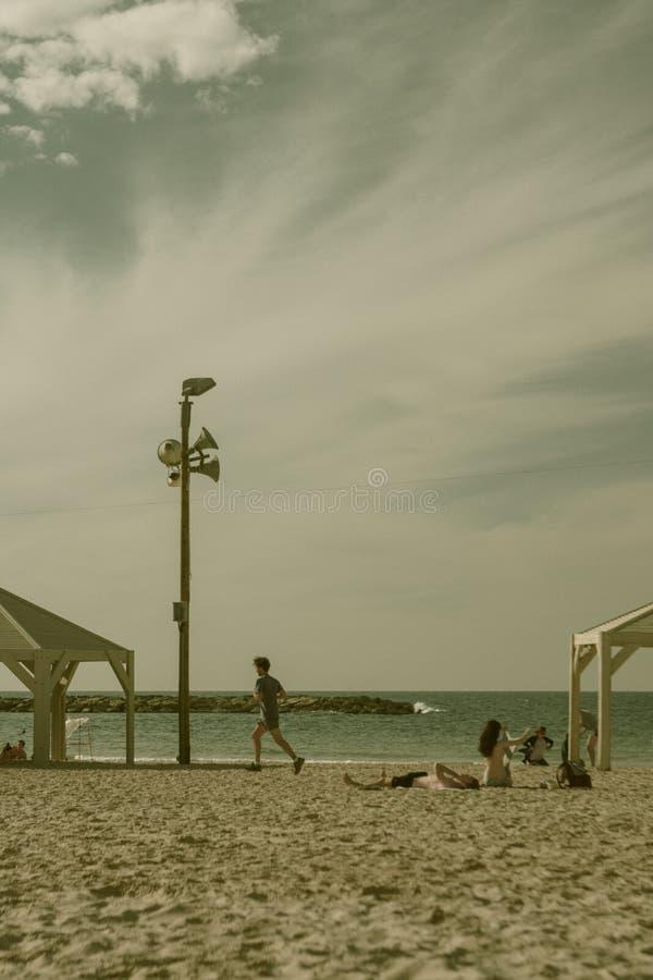 Strand i Tel Aviv i Israel royaltyfri fotografi
