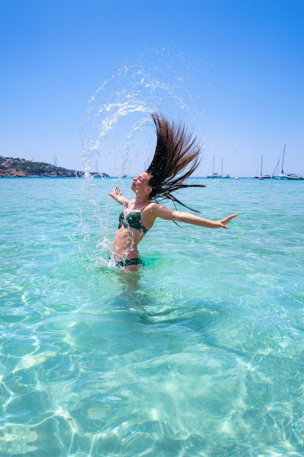 Strand Ibiza Cala Tarida in den Balearischen Inseln lizenzfreie stockbilder