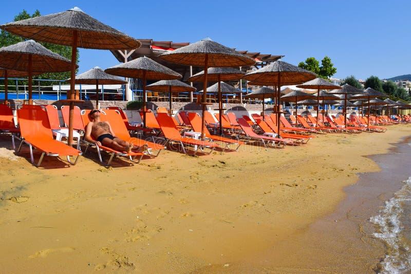 Strand in Kavala, Griekenland royalty-vrije stock foto's