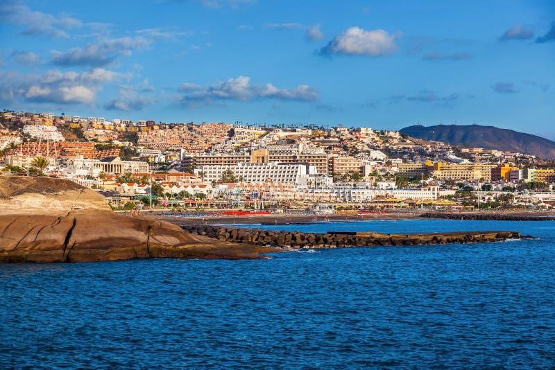 Strand Las Amerika in het eiland van Tenerife - Kanarie royalty-vrije stock afbeeldingen