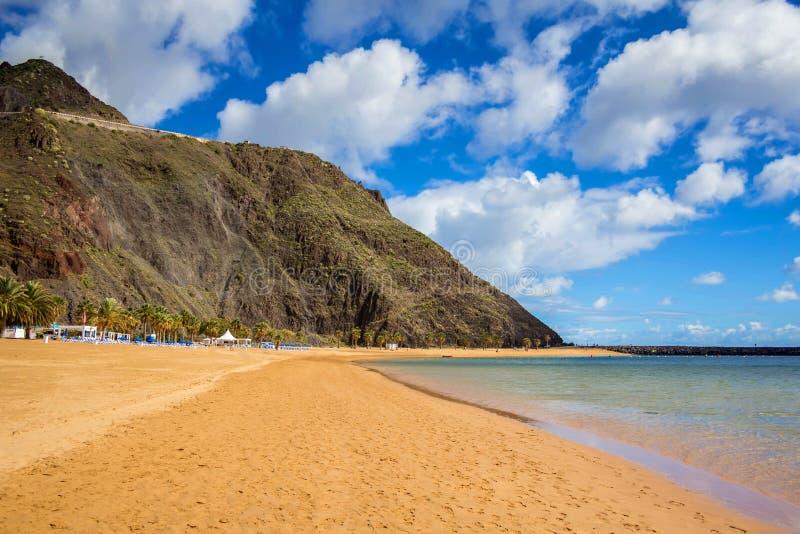 Strand Las Teresitas, het eiland van Tenerife, Spanje stock foto's