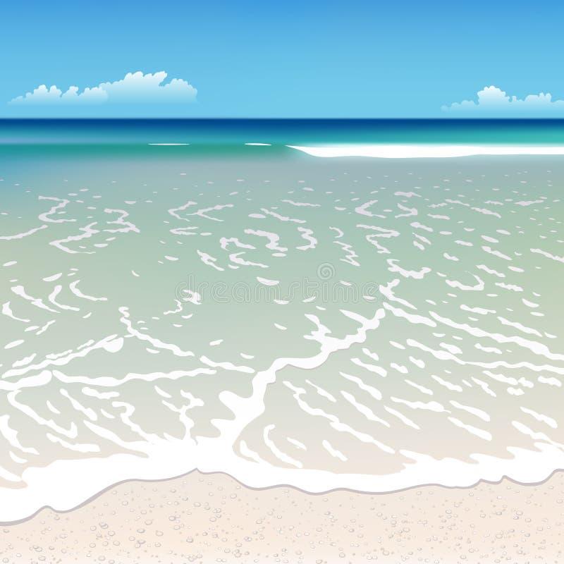 Strand med en våg stock illustrationer