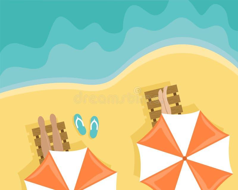 Strand med folk som ligger på soldagdrivare och strandparaplyer Plan vektorillustration vektor illustrationer