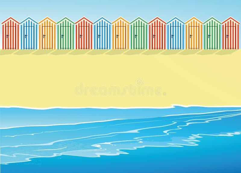 Strand med strandkojor vektor illustrationer