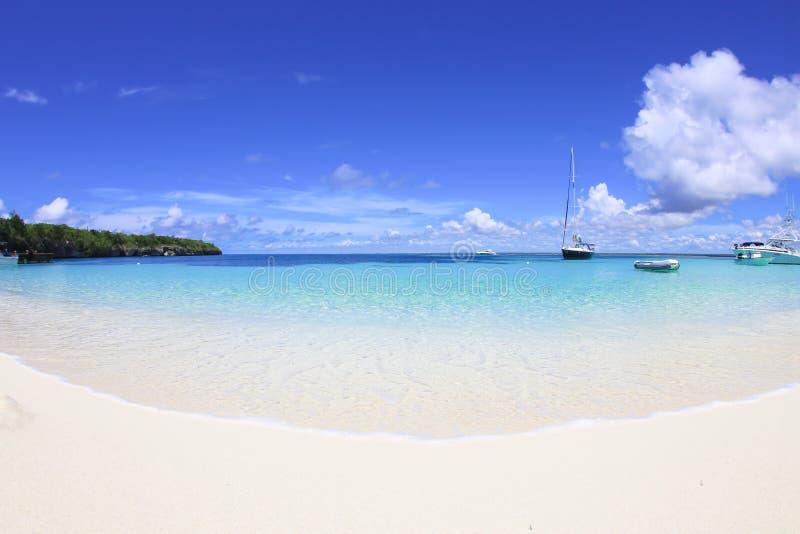 Strand med yachter royaltyfria bilder