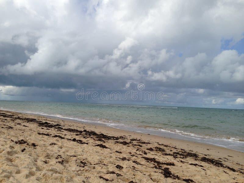 Strand met regen stock afbeeldingen
