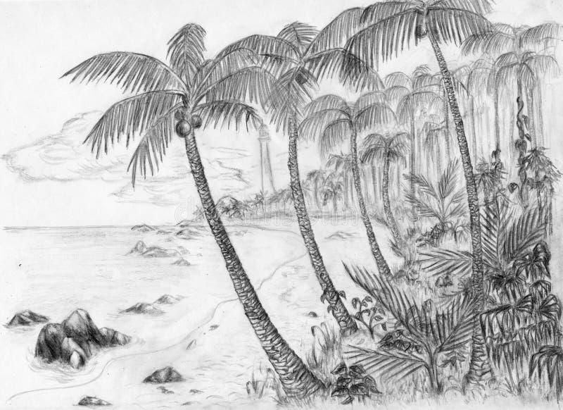 Strand met vuurtoren stock illustratie