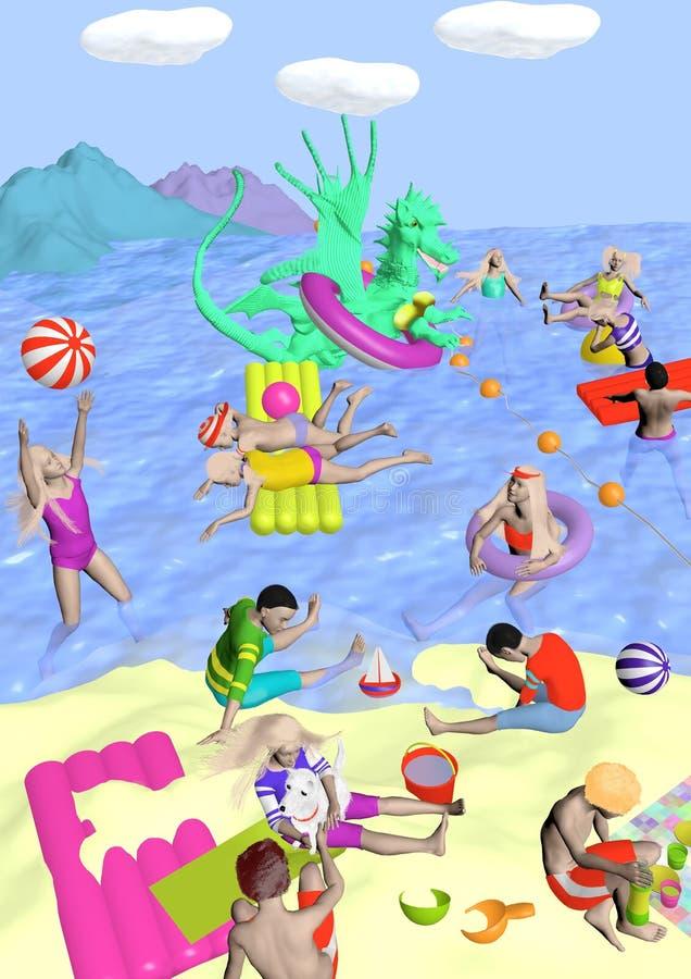 Strand mit Drachen lizenzfreie stockfotos