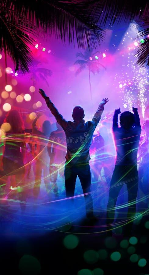 Strand-Nachtpartei der Kunst tropische stockbild