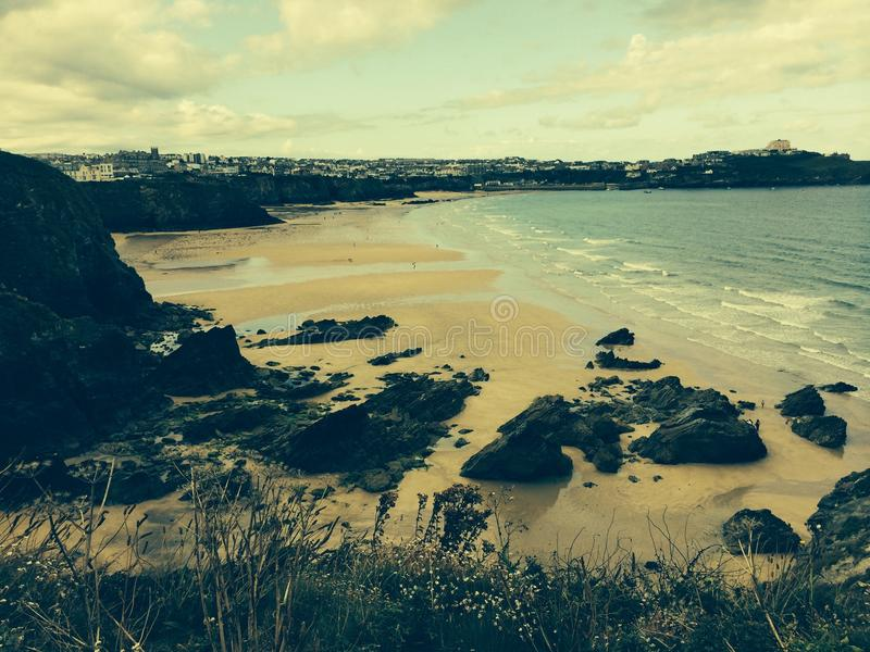 Strand in Newquay Cornwall stockbilder