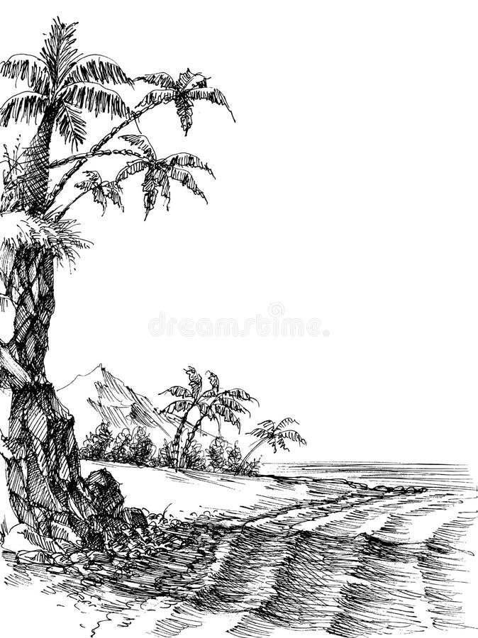 Strand- och havssiktsteckning stock illustrationer