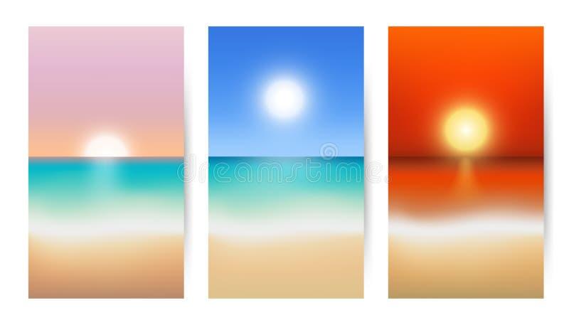 Strand- och havssuddighetsbakgrund - soluppgång eller solnedgång vektor illustrationer