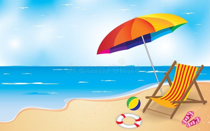 Strand och paraply och stol volleyboll för sommar för bakgrundsbollstrand härlig tom vektor illustrationer
