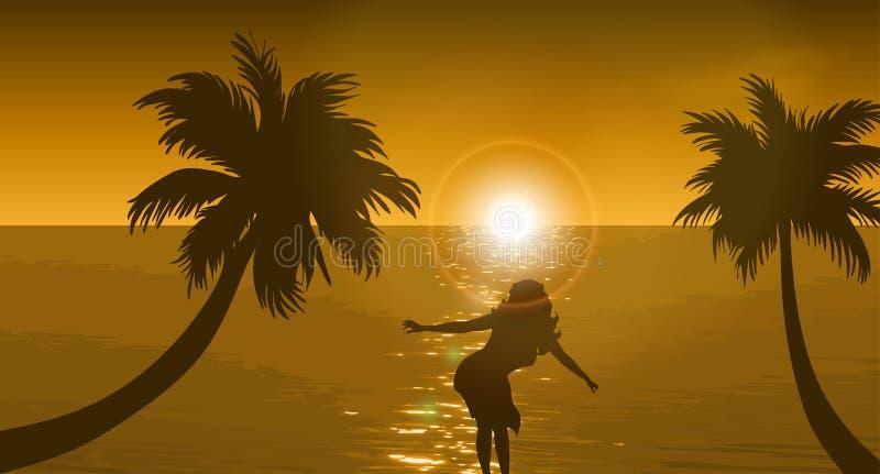 Strand och solnedgånghimmel royaltyfri illustrationer