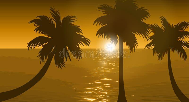 Strand och solnedgånghimmel vektor illustrationer