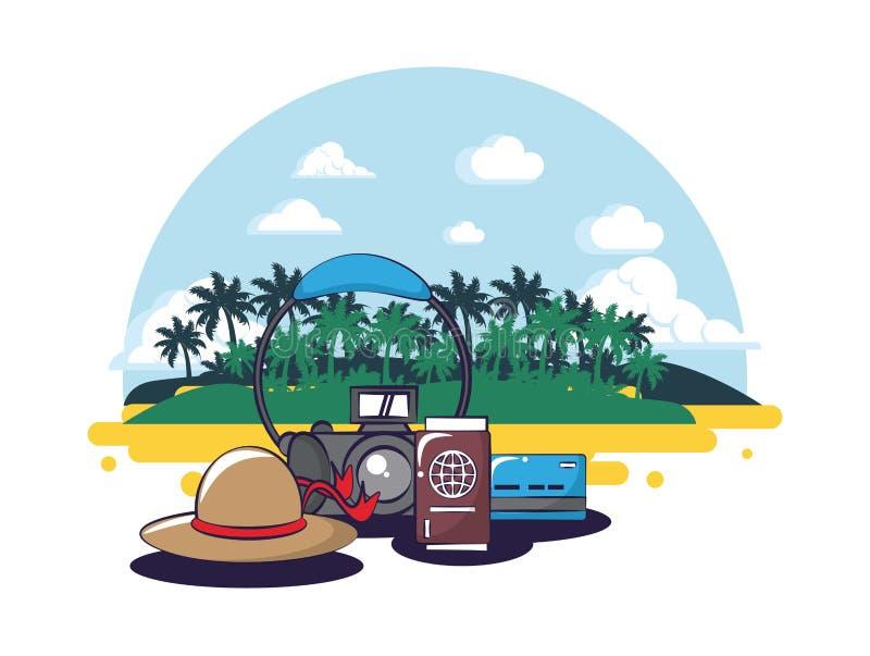Strand och sommar vektor illustrationer