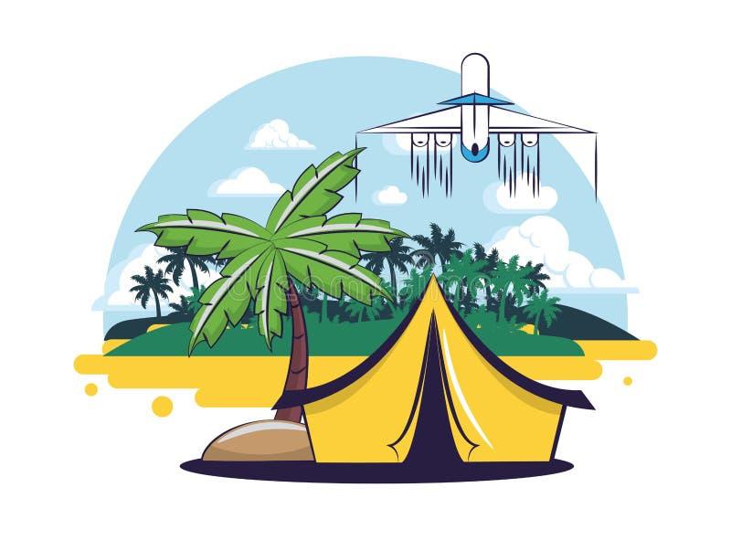 Strand och sommar stock illustrationer