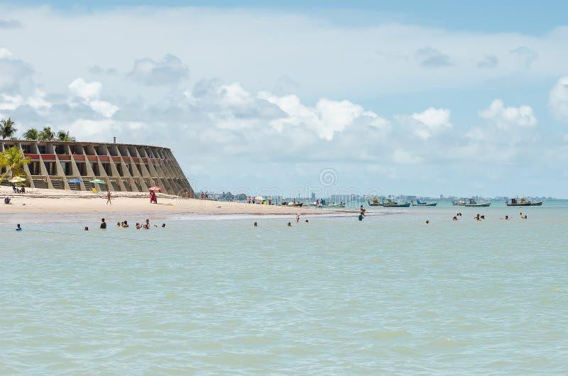 Strand och Tambau hotell, Joao Pessoa Brazil arkivbilder