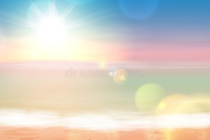 Strand och tropiskt hav med den ljusa solen stock illustrationer