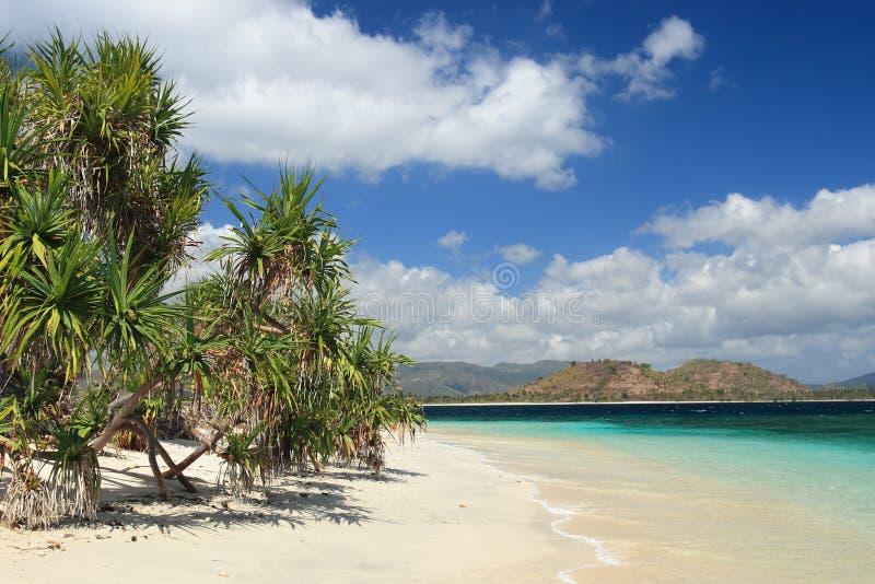 Strand op eiland Lombok. stock afbeelding