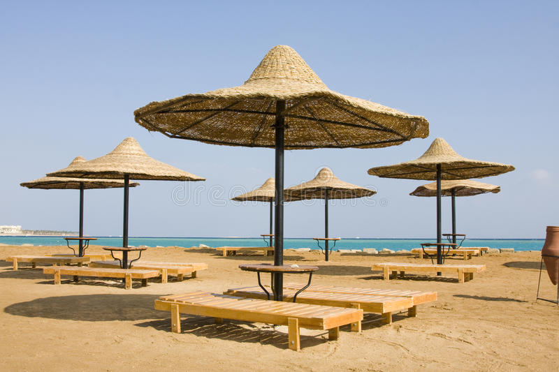 Strand op Rode overzees, Hurghada, Egypte stock foto