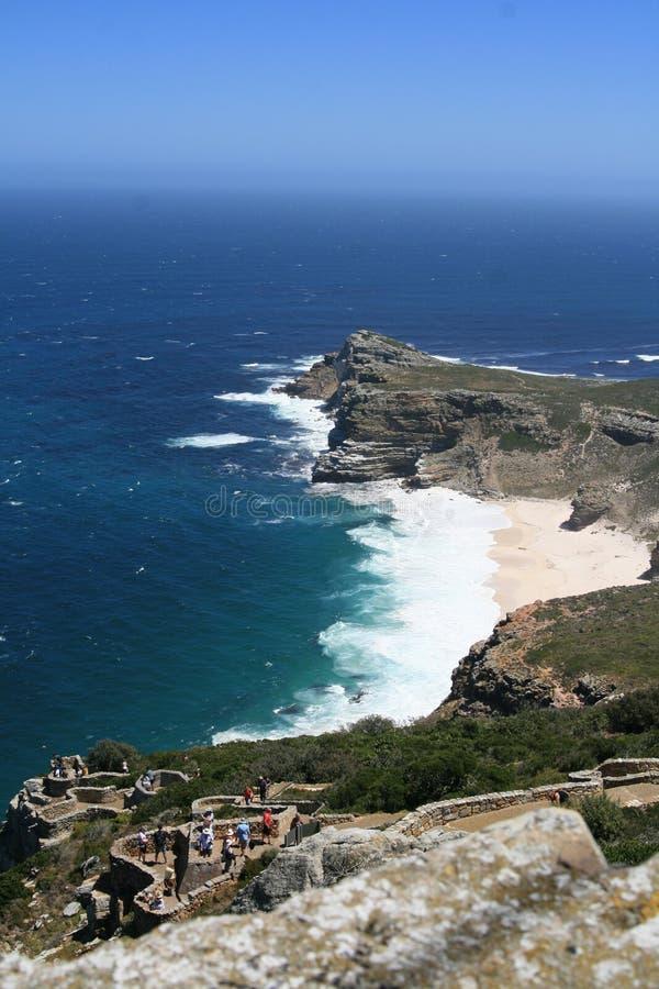 Strand-Ozean und ein langes Treppenhaus lizenzfreie stockfotos