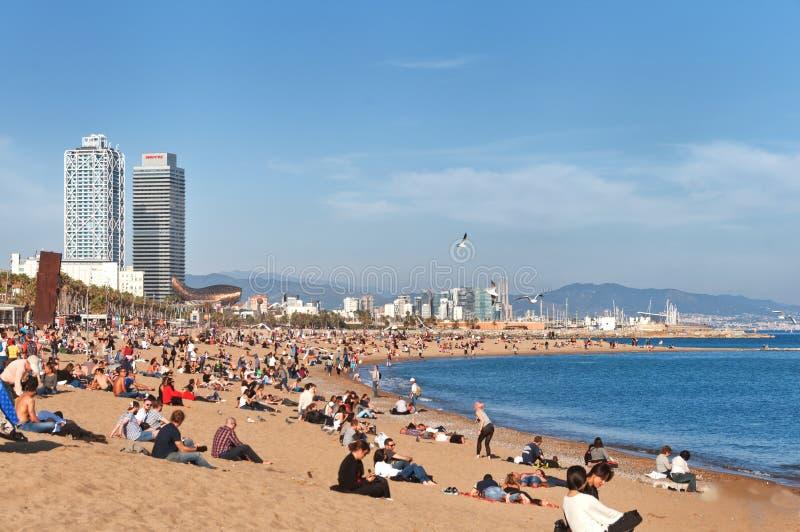Strand på Barcelona spain fotografering för bildbyråer