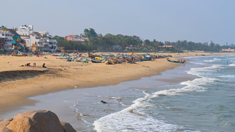 Strand på fjärden av Bengal royaltyfria bilder