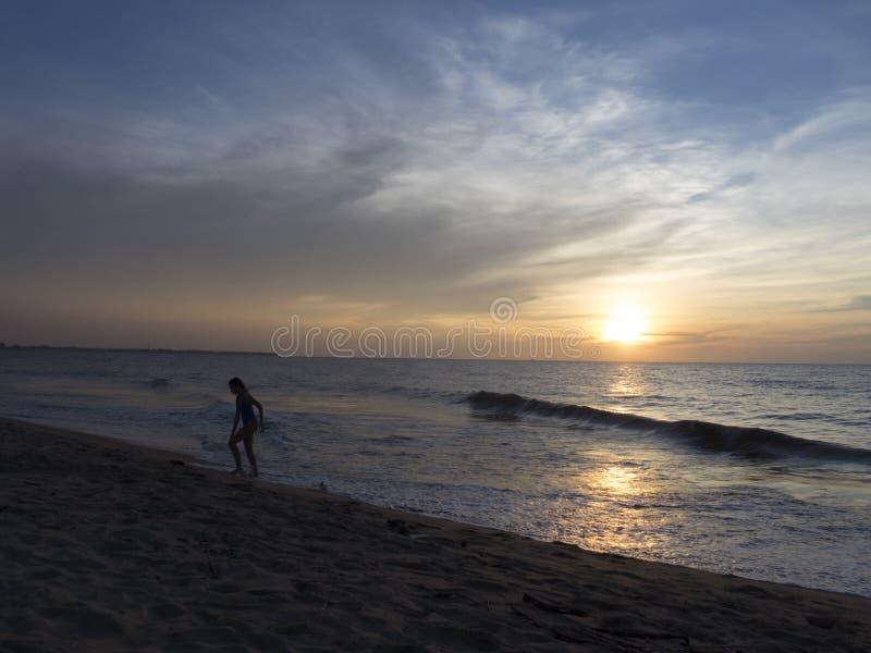 Strand på solnedgången i Sri Lanka royaltyfria foton