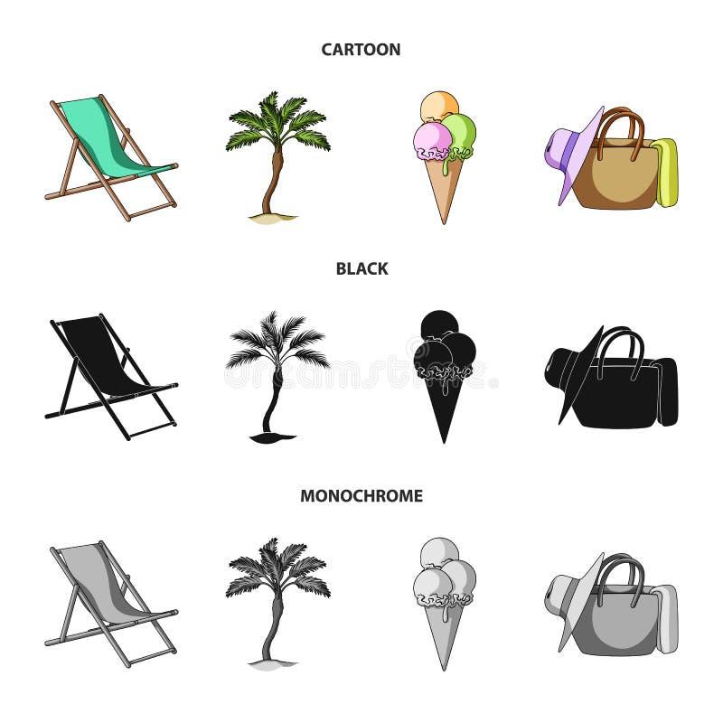 Strand, palm, roomijs E royalty-vrije illustratie
