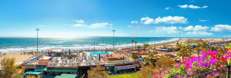 Strand Playa Del Ingles Maspalomas, Gran Canaria, Kanarische Inseln stockbild