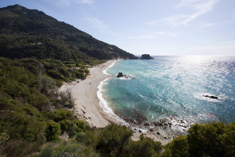 Strand Potami in der Insel Samos in Griechenland stockfotografie