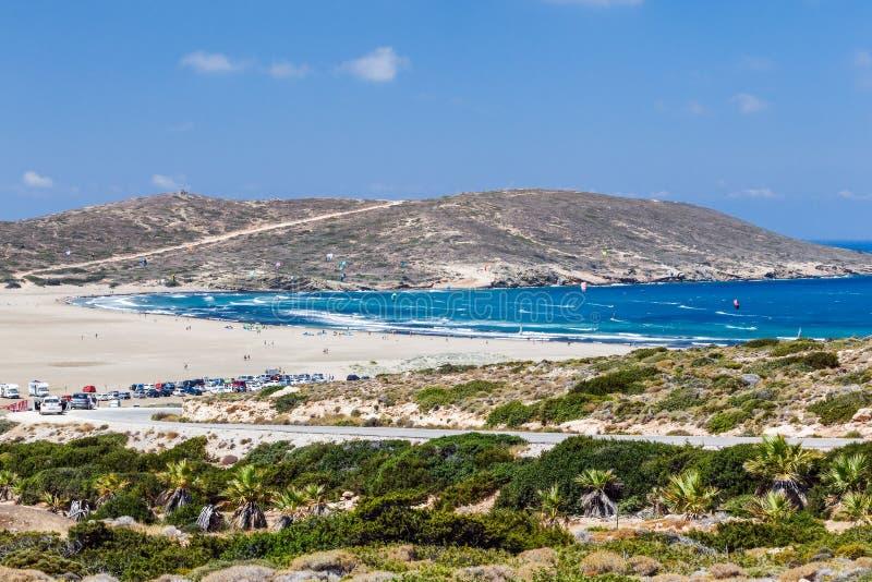 Strand Prasonisi Rhodes ö Grekland fotografering för bildbyråer