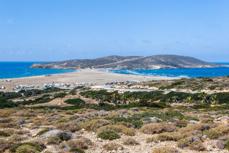 Strand Prasonisi Rhodes ö Grekland arkivfoton