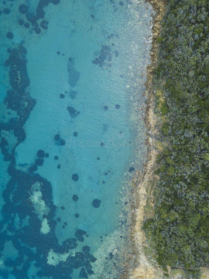Strand in Punta-Ala Italien-Antennenlandschaft stockfotografie
