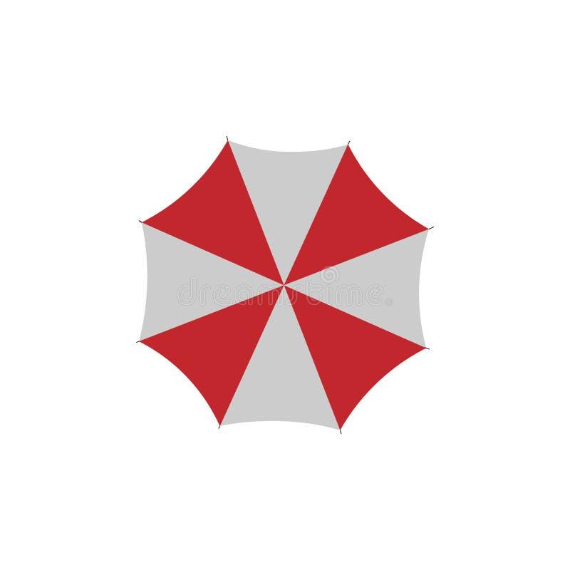 Strand of regen kleurrijke paraplu, hoogste mening Vector illustratie vector illustratie
