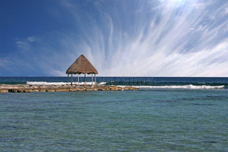 Strand am Riviera-Maya, Mexiko stockbilder