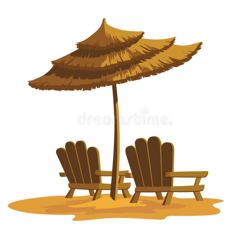 Strand rustende stoelen stock illustratie