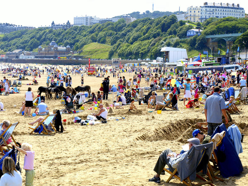 Strand in Scarborough, North Yorkshire royalty-vrije stock foto