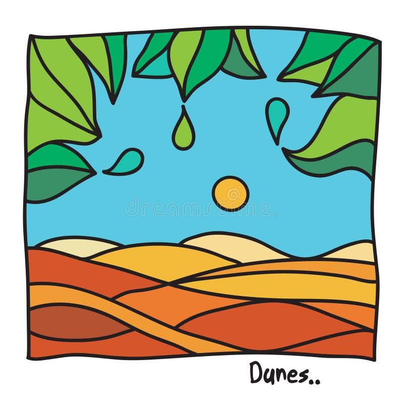 Strand, semester eller dyn stock illustrationer