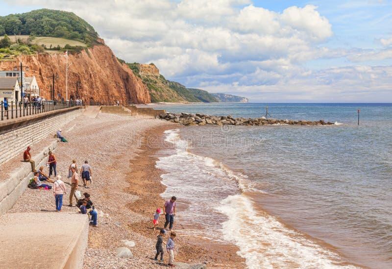 Strand in Sidmouth Dorset het UK stock afbeeldingen
