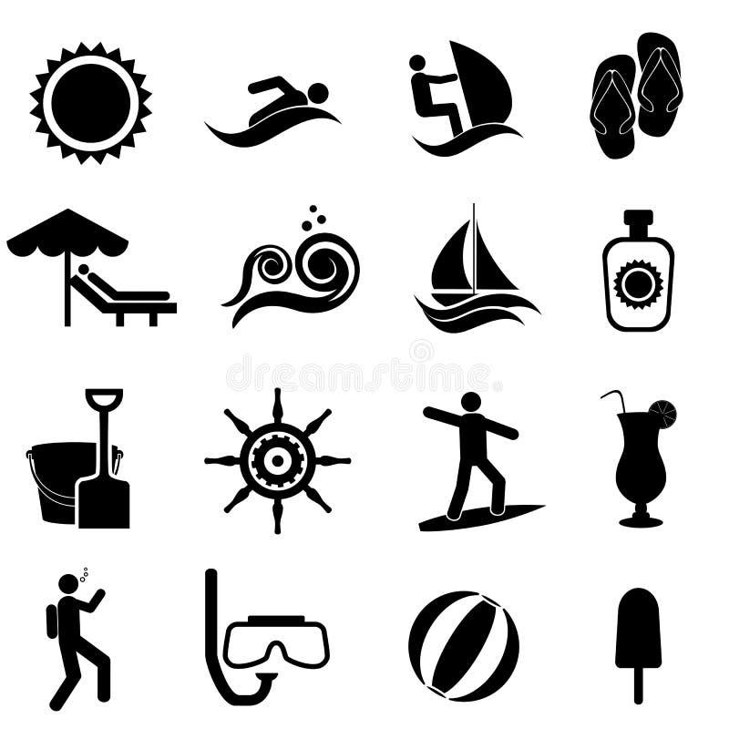 Strand, sommar och nautisk symbolsuppsättning vektor illustrationer