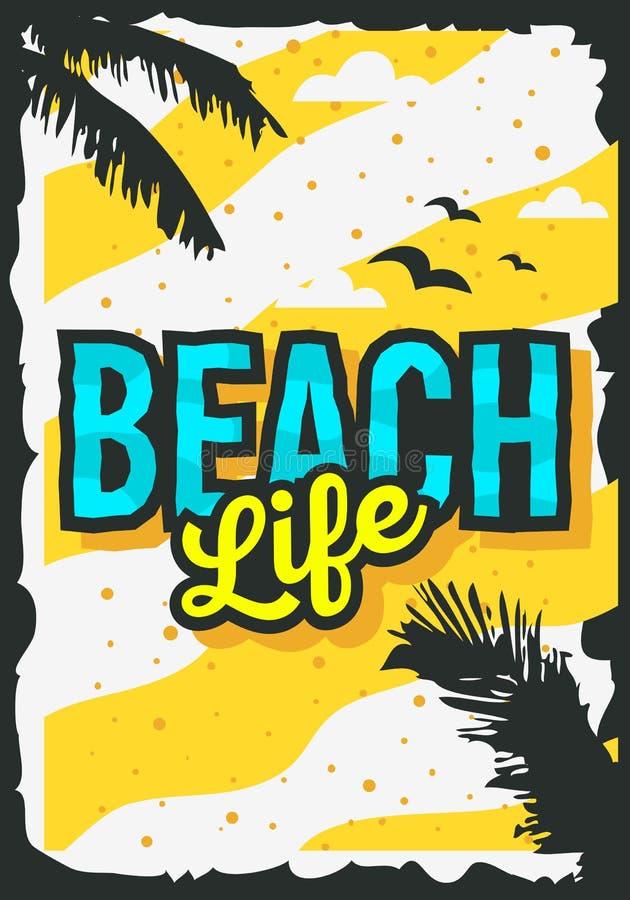 Strand-Sommer-Plakat-Design Mit Palmblatt-Illustration ...